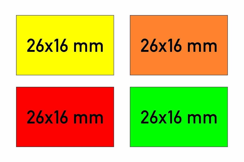 Etiketten 26x16 mm rechteckig gelb orange rot grün - G2 permanent