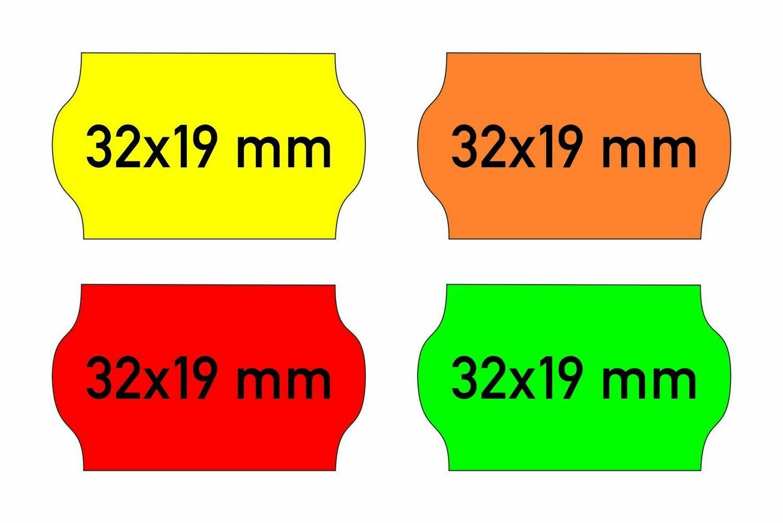 Etiketten 32x19 mm gelb orange rot grün - G2 permanent