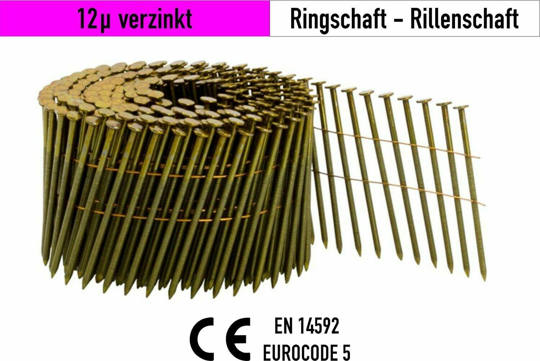 9.000 Coilnägel 16° drahtgebunden 2,5 x 50 mm 12µ verzinkt