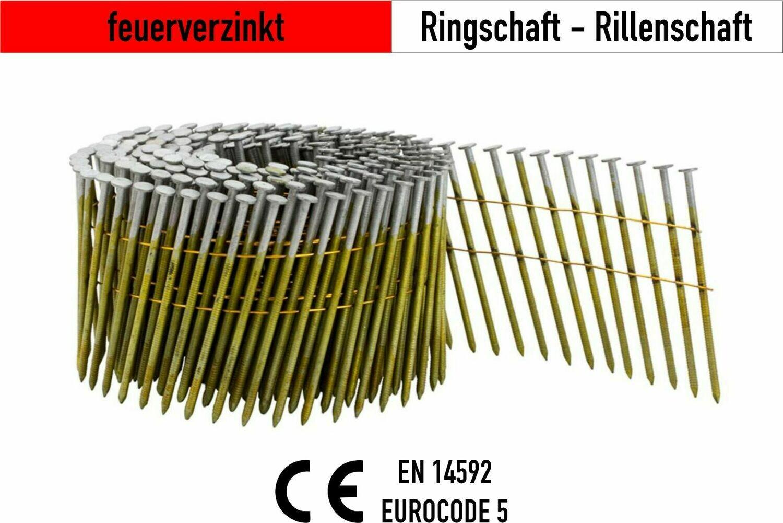 6.000 Coilnägel 16° drahtgebunden 2,5 x 75 mm feuerverzinkt