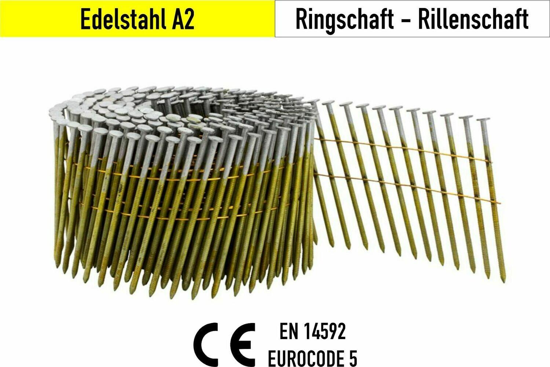 9.000 Coilnägel 16° 2,5x50 mm V2A Edelstahl drahtgebunden
