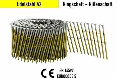 7.200 Coilnägel 16° drahtgebunden 2,5 x 55 mm V2A Edelstahl