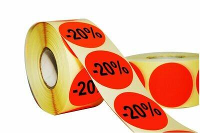 Aktionsetiketten 30 mm Durchmesser - 20 %