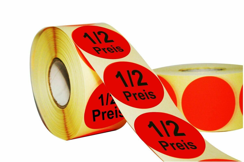 Aktionsetiketten 50 mm Durchmesser - 1/2 Preis
