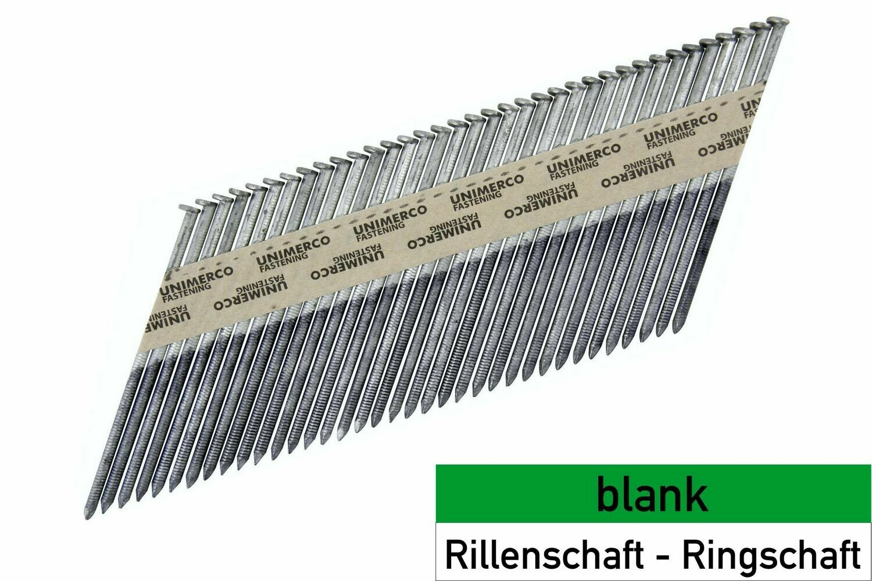 2.800 Streifennägel 3.1x98 - blank - Ringschaft - D-Kopf