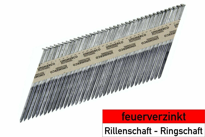 2.800 Streifennägel 3.1x98 - feuerverzinkt - Ringschaft - D-Kopf