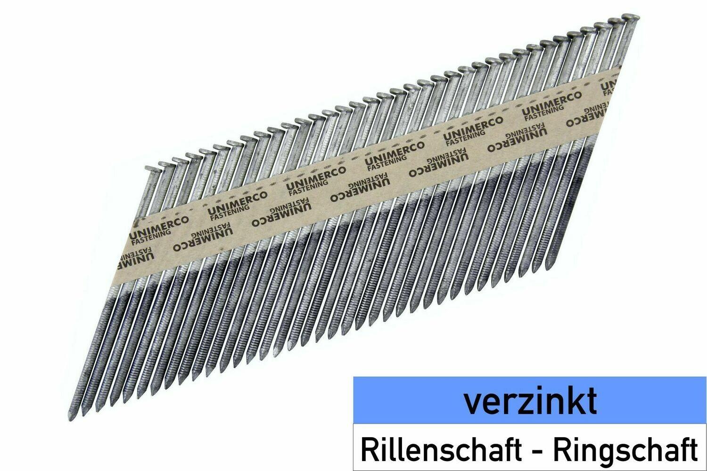 3.500 Streifennägel 2.8x51 - verzinkt - Ringschaft - D-Kopf