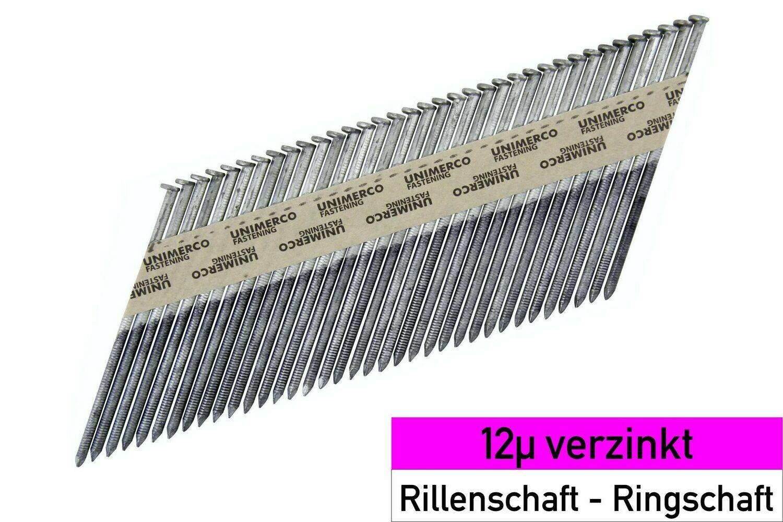 4.000 Streifennägel 2.8x80 - 12µ verzinkt - Ringschaft - D-Kopf