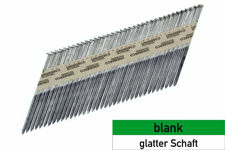 Streifennägel 34° - D-Kopf - blank - glatter Schaft