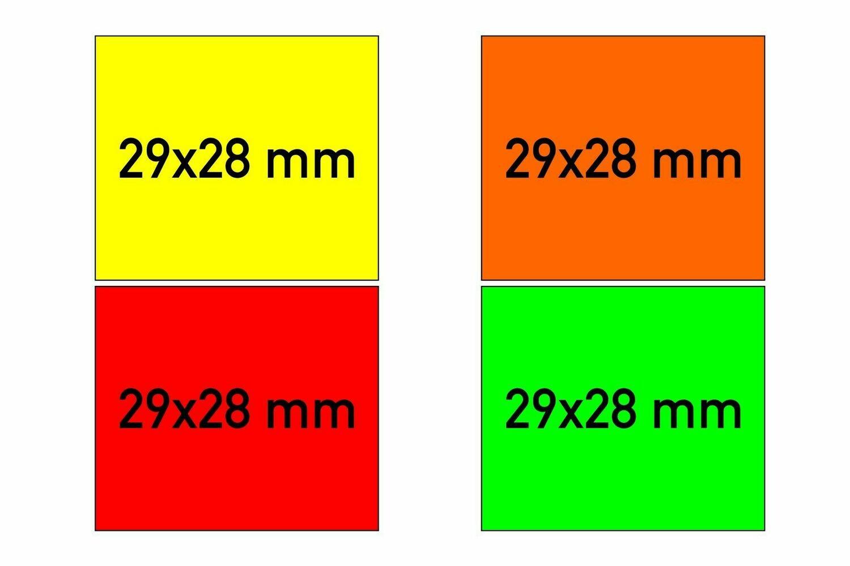 Etiketten 29x28 mm gelb orange rot grün - G2 permanent