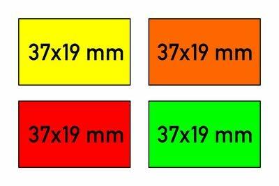 Etiketten 37x19 mm gelb orange rot grün - G2 permanent
