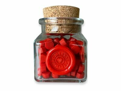 """Siegelwachs in Perlen """"Octagon"""" in Flaschen - Rot"""