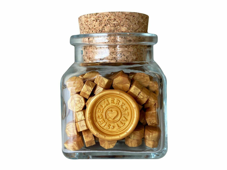 """Siegelwachs in Perlen """"Octagon"""" in Flaschen - Gold, Silber, Kupfer"""