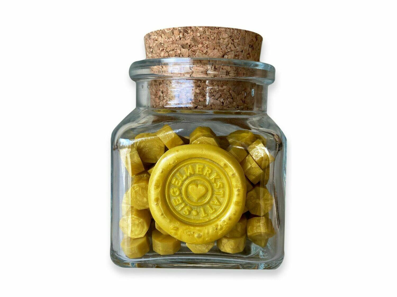 """Siegelwachs in Perlen """"Octagon"""" in Flaschen - gelb und braun"""