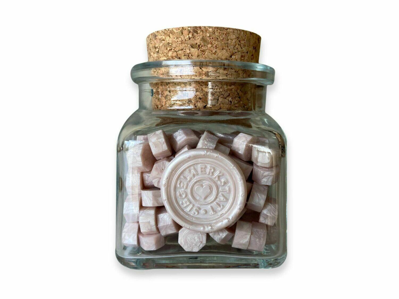 """Siegelwachs in Perlen """"Octagon"""" in Flaschen - Rosa und Lila"""