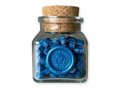 """Siegelwachs in Perlen """"Octagon"""" in Flaschen - blau und grün"""