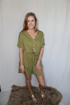 Green Romper with Button Detail