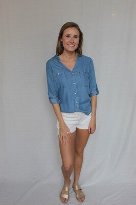 Margo Chambray Button-Up Top