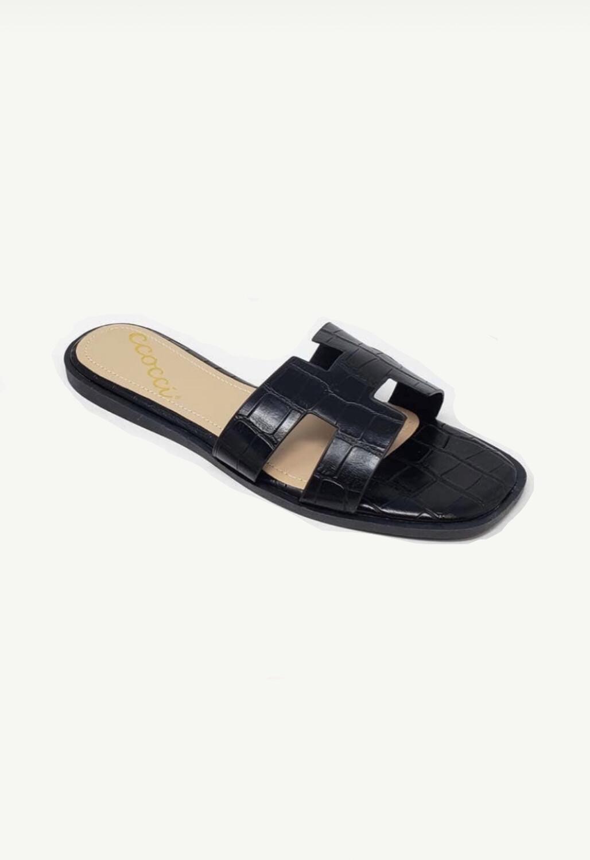 Black Margeaux Crocodile Sandals