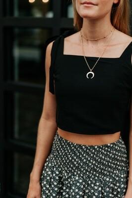 Crescent Moon Double Necklace