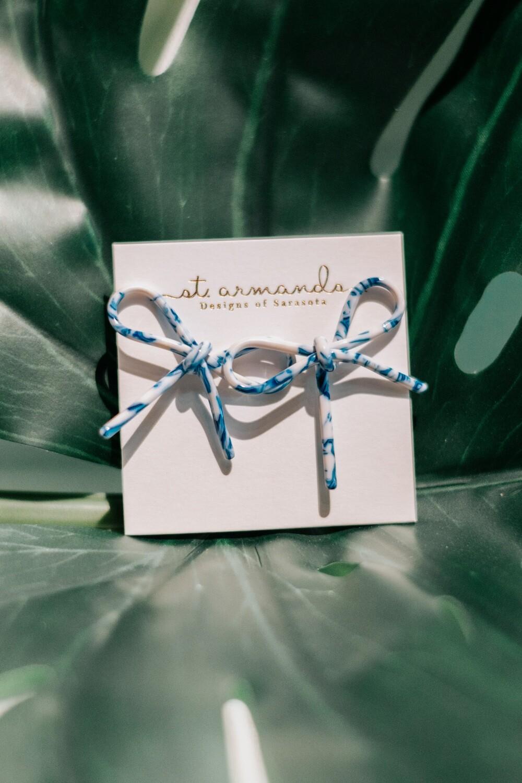 Blue & White Spotty Bows