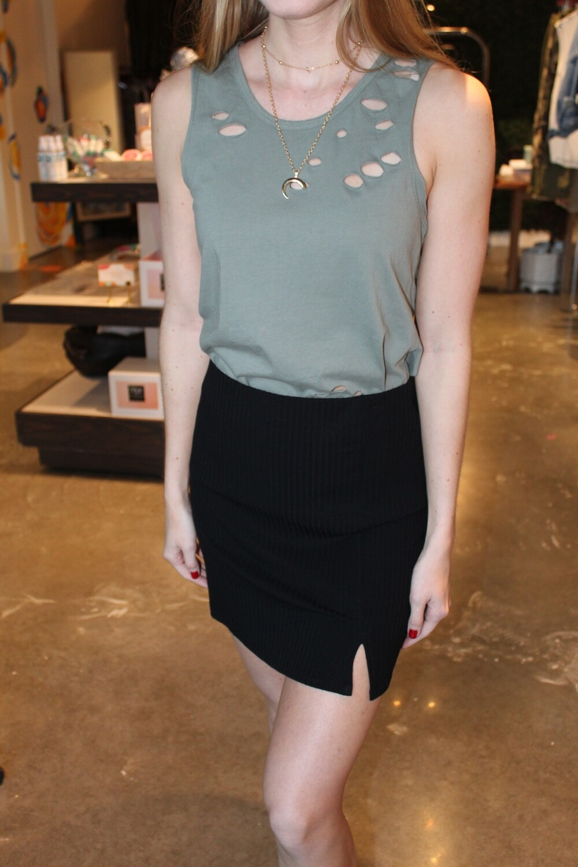 Size: Med Rib Knit Skirt- Stars Above in Black