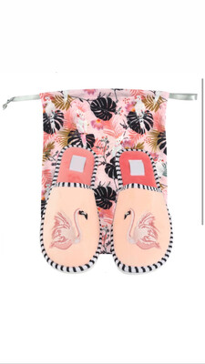 Size: L (10-11) Preppy Flamingo Slippers