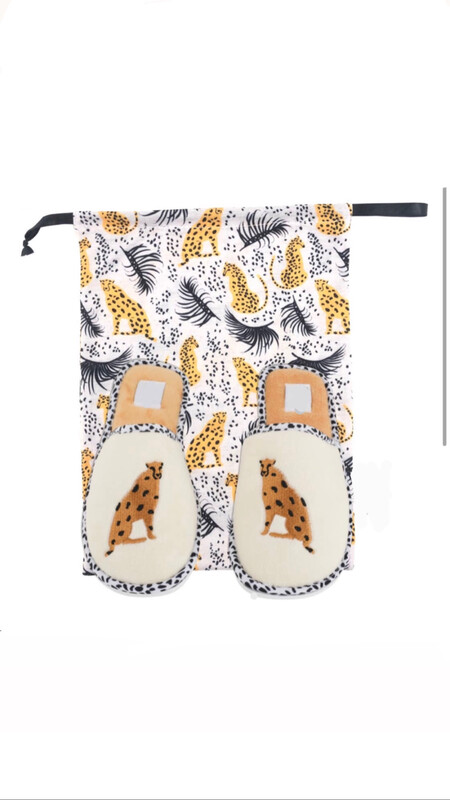 Size: M (8-9) Preppy Cheetah Slippers