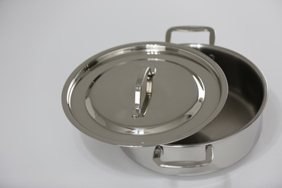 SS1- 4.44 Qt. Stainless Steel Sauteuse Pan with Cover