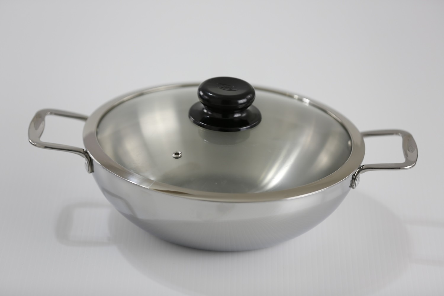 SS1 5.81 Qt. Stainless Steel Tri-Ply Wok With Glass Cover