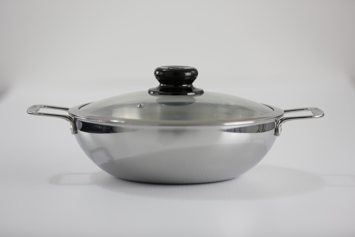 Tri-Ply Clad 12.5 inch Stainless Steel Wok With Glass Cover