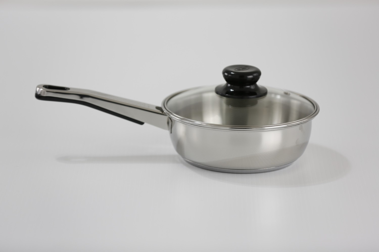 """SS1 - 8.66"""" Stainless Steel Fry Pan with Glass Lid"""