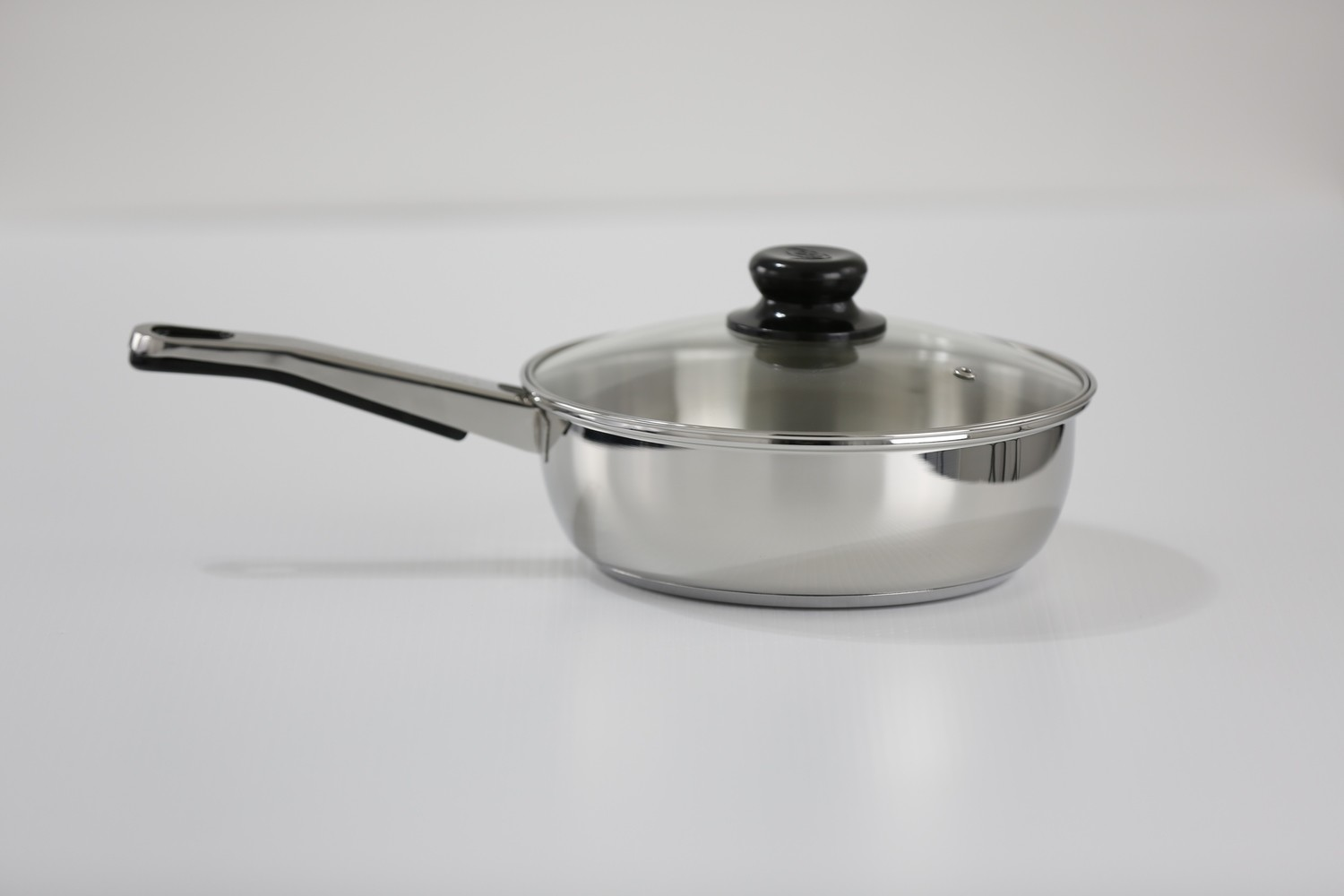 """SS1 - 9.54"""" Stainless Steel Skillet with Glass Lid"""