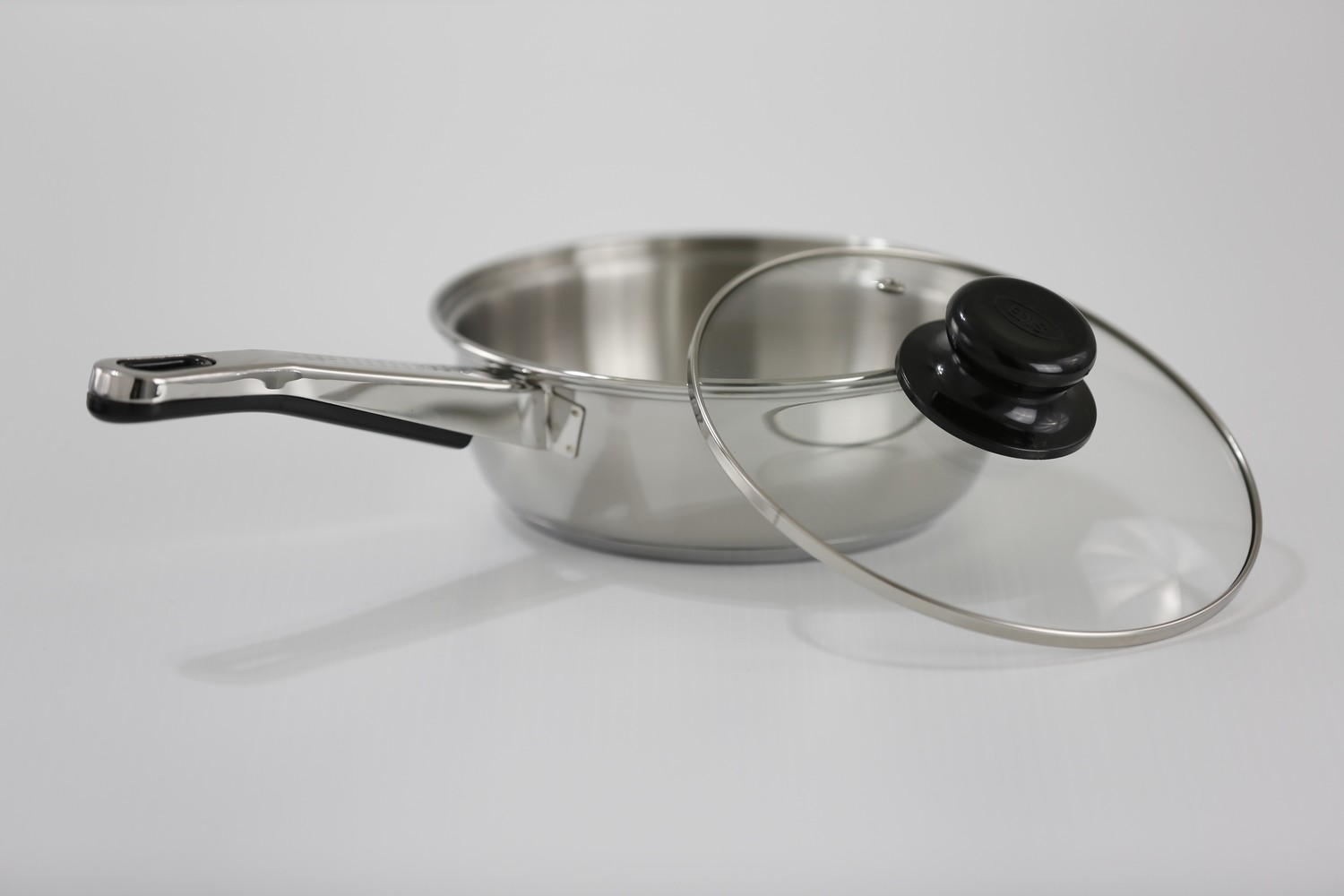 "SS1 - 7.87"" Stainless Steel Fry Pan with Glass Lid"