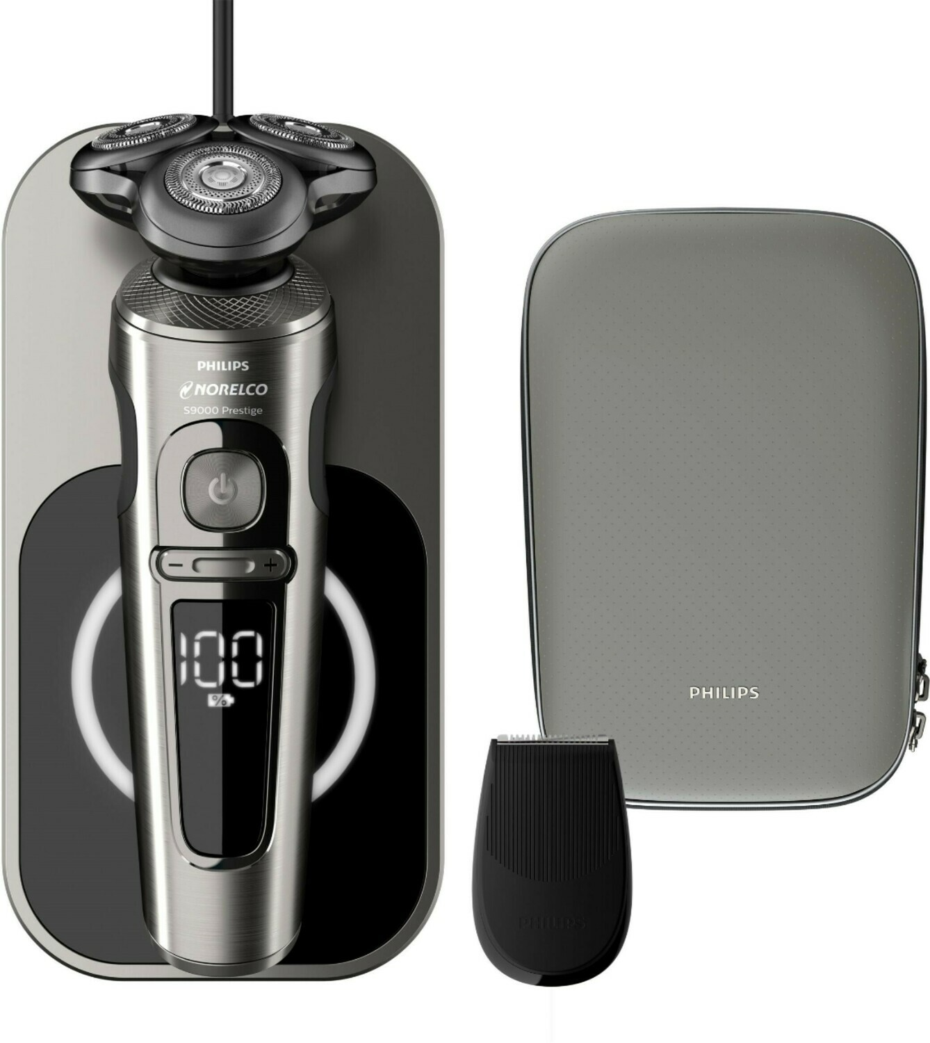 Philips Norelco - S9000 Prestige Qi-Charge Electric Shaver - Dark Brushed Chrome