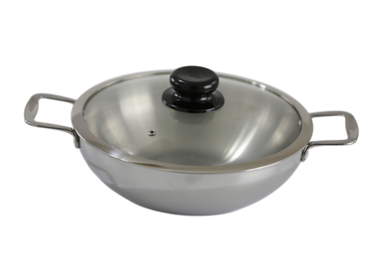 Tri-Ply Stainless Steel Wok With Glass Cover