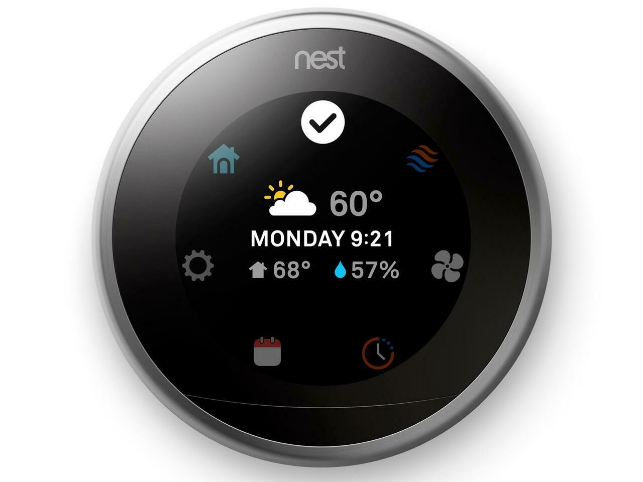 Google - Nest Learning Smart Wifi Thermostat - Stainless Steel Model:T3007ES