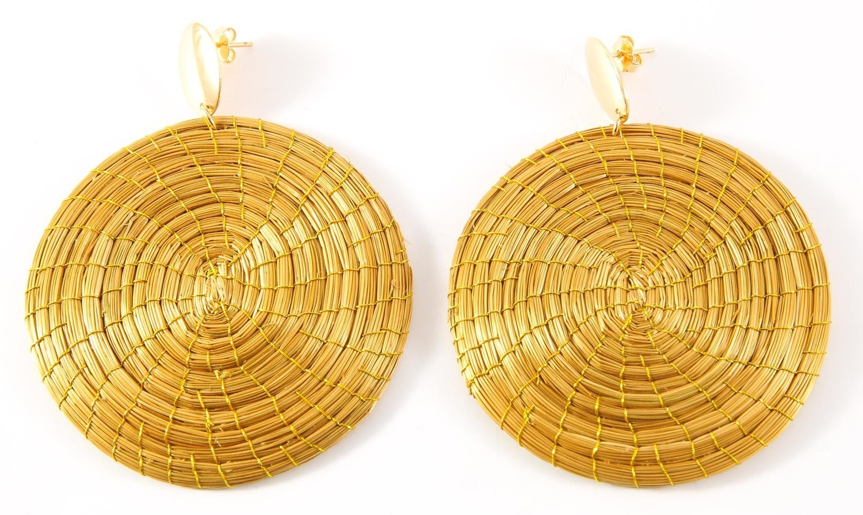 Goldgras Mandala Ohrringe