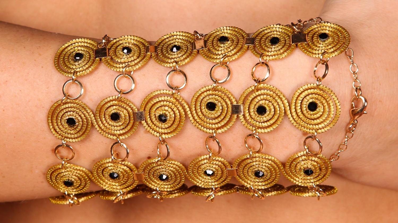 Goldgras Wirbel-Armband