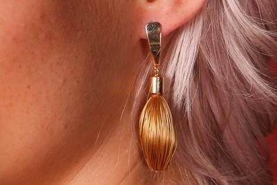 Goldgras Ohrringe Tropfen schmal