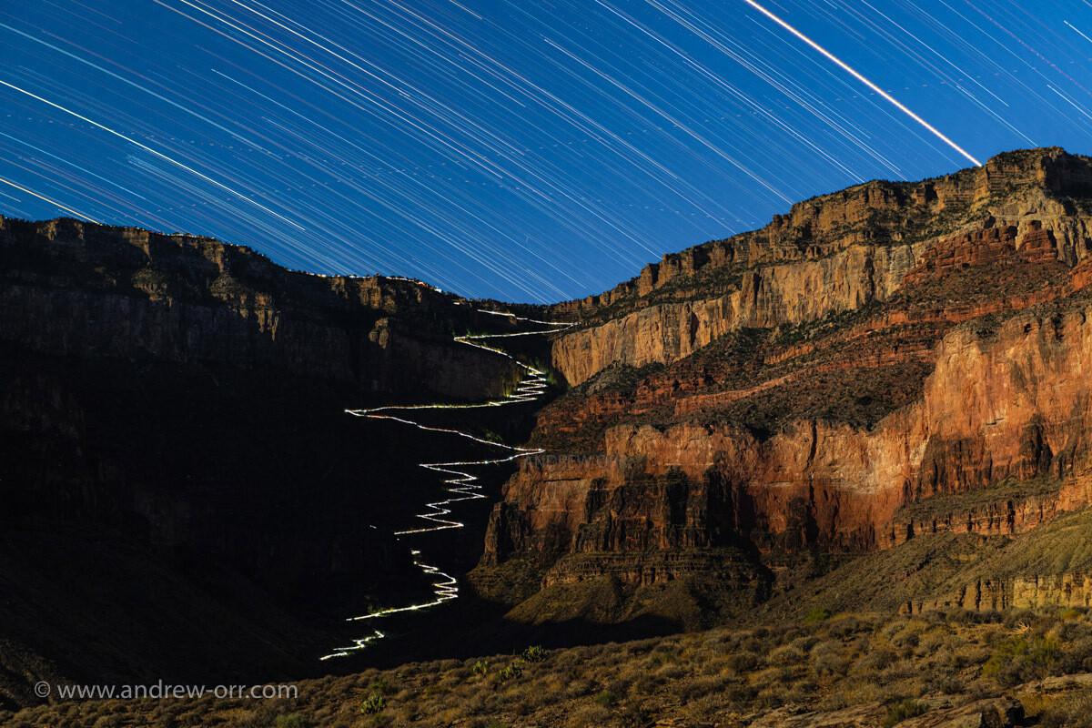 Grand Canyon Bright Angel Trail at Night - Print
