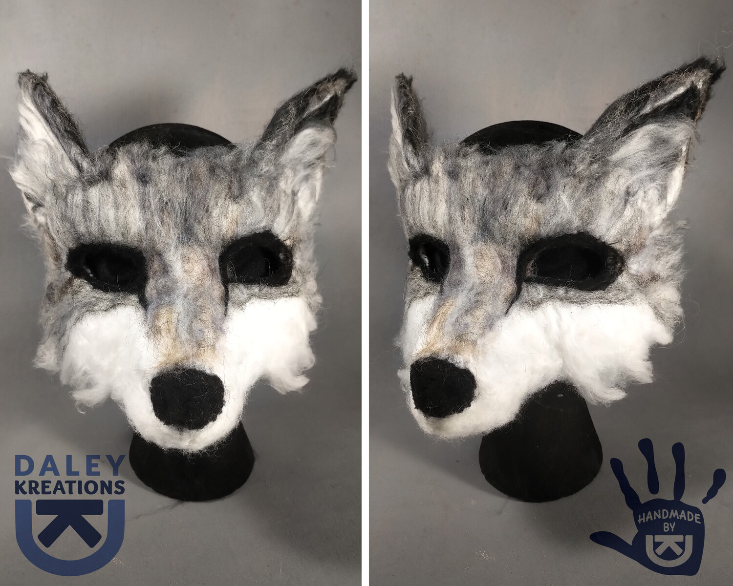 Grey Wolf Felted Mask