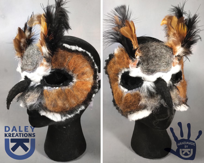 Horned Owl Felted Mask