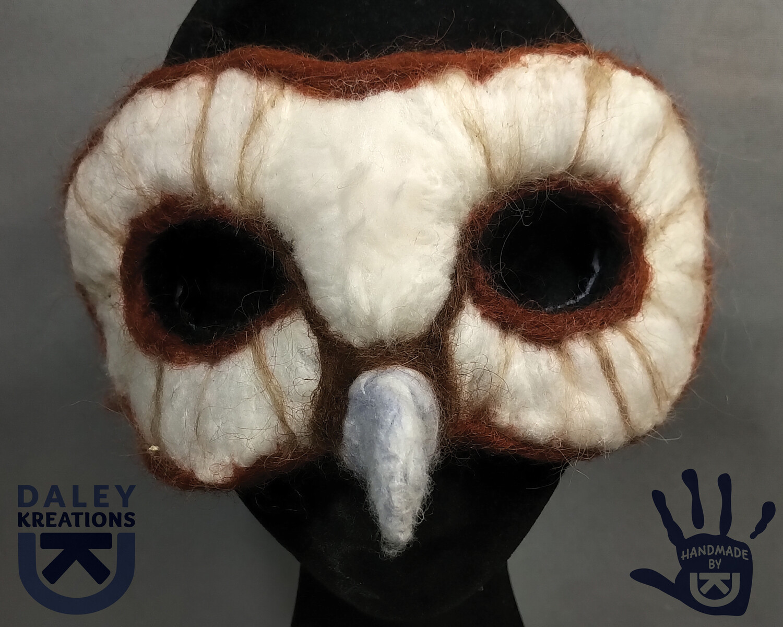 Barn Owl Felted Mask