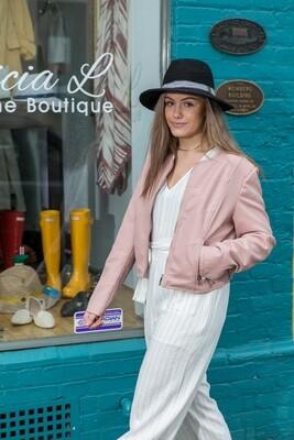 Pink Vegan Leather Jacket