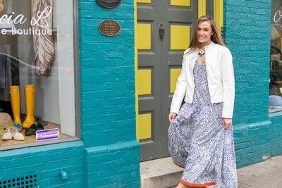 Blue and white sleeveless dress
