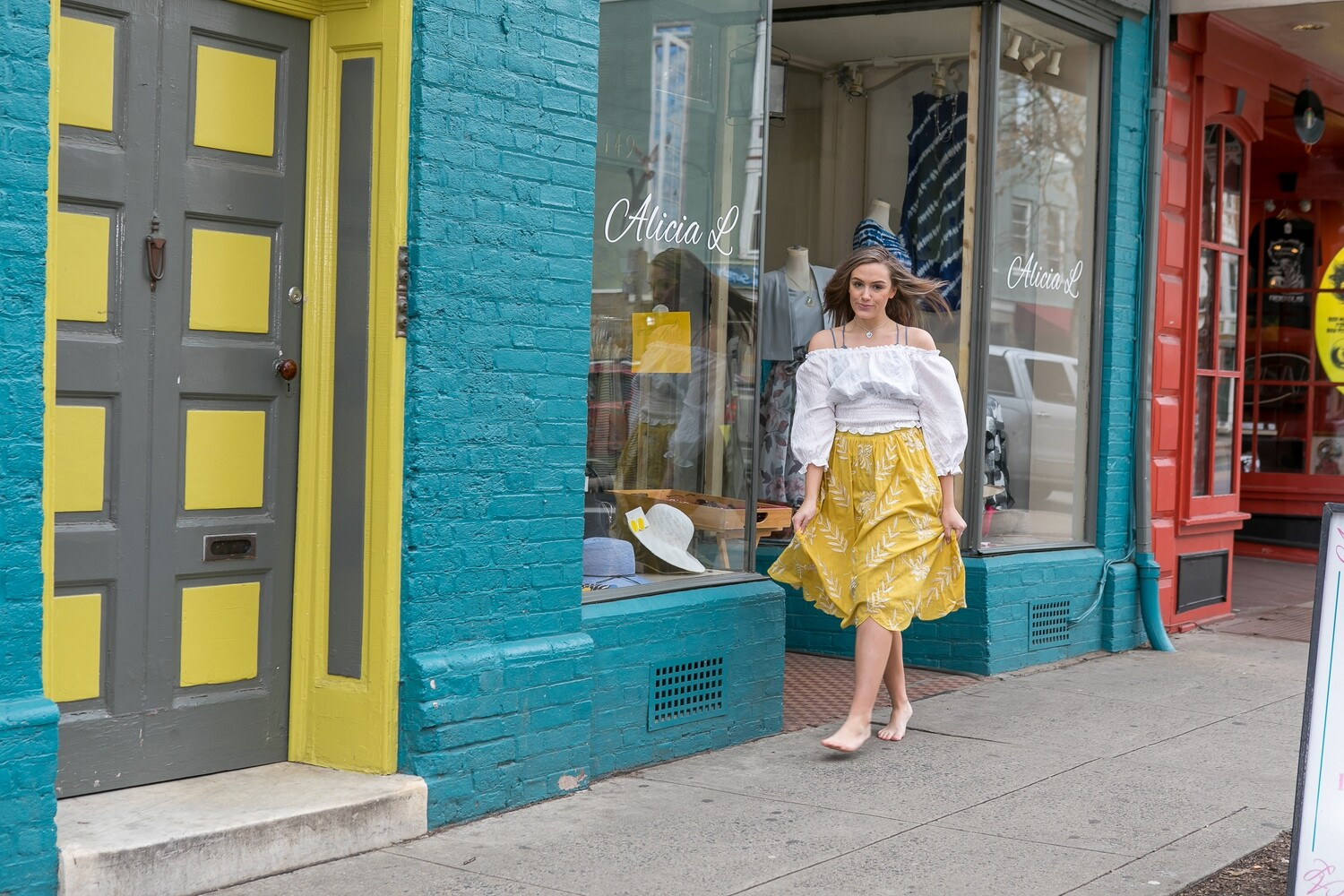 Yellow Skirt with White Floral Print