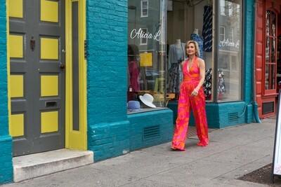 Julie Brown Pink and Orange Jumpsuit