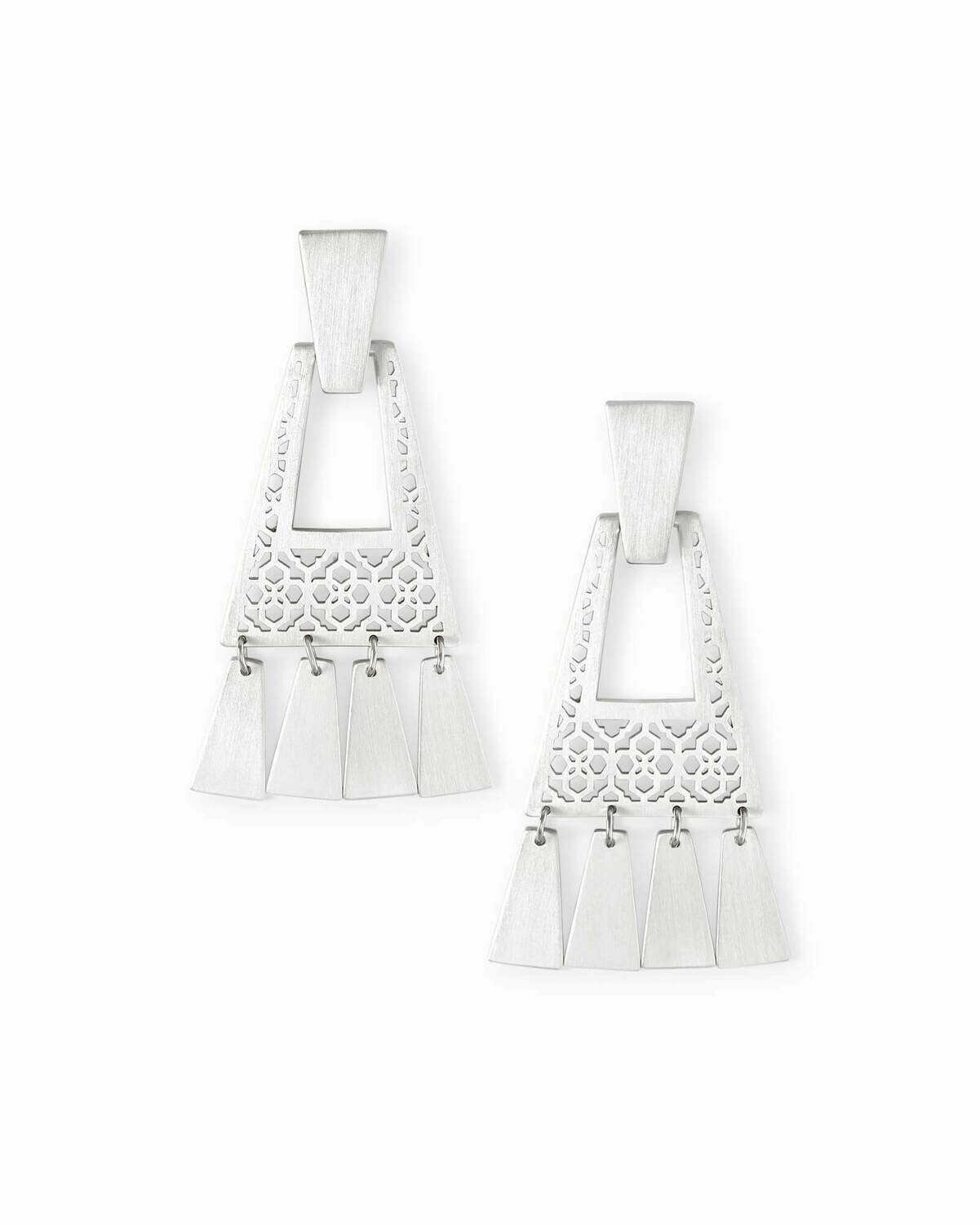 Kendra Scott Kase Bright Silver Fringe Earrings in Bright Silver Filigree