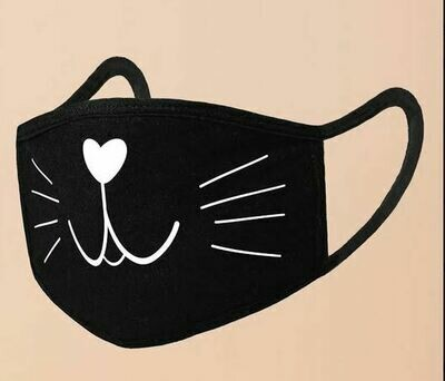 Black Cotton Cat Facemask